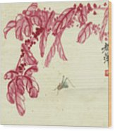 Red Autumnal Leaves Insect Wood Print