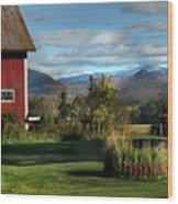 Red Barn In Newbury Vermont Wood Print