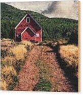 Red Barn Road Wood Print