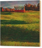 Rolling Hills And Red Barn, Rock Island, Tennessee Wood Print