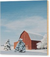 Red Barn With Snow Wood Print