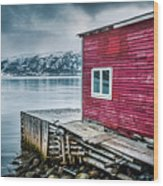 Red Boathouse In Norris Point, Newfoundland Wood Print