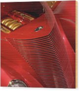 Red Classic Car Details Wood Print by Oleksiy Maksymenko