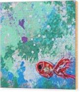 1 Red Fish Wood Print