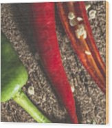 Red Hot Peppers On Wooden  Cutting Board Wood Print