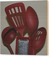 Red Kitchen Utencils Wood Print