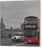 Red London Bus Wood Print