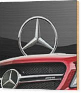 Red Mercedes - Front Grill Ornament And 3 D Badge On Black Wood Print