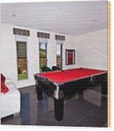 Red Pool Table Wood Print