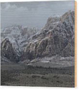 Red Rock Canyon Snow Storm Wood Print
