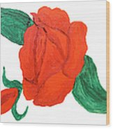 Red Rose, Oil Painting Wood Print
