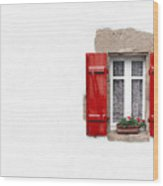 Red Shuttered Window On White Wood Print by Jane Rix