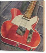 Red Telecaster Wood Print