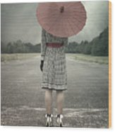 Red Umbrella Wood Print by Joana Kruse