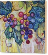 Red Water Color Grapes Wood Print