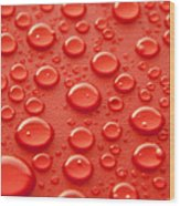 Red Water Drops Wood Print