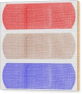 Red White And Blue Bandaids Wood Print by Blink Images