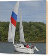 Red White And Blue Sails Wood Print
