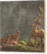 Reindeer Scene Wood Print