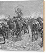 Remington: Cowboys, 1888 Wood Print by Granger