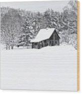 Remote Cabin In Winter Wood Print