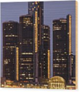 Renaissance Center At Dusk Wood Print by James Marvin Phelps