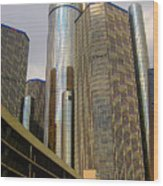 Renaissance Center In Detroit Wood Print by Guy Ricketts