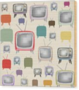 retro TV pattern  Wood Print