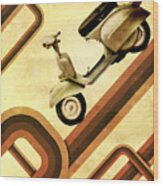 Retro Vespa Scooter Wood Print by Michael Tompsett