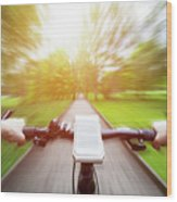 Riding A Bike First Person Perspective. Smartphone On Handlebar. Speed Motion Blur Wood Print