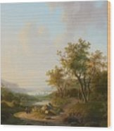 River Landscape With Views Of A Castle And Town Wood Print