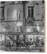 River Street Sweets Candy Store Black White  Wood Print
