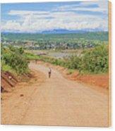 Road Landscape In Tanzania Wood Print