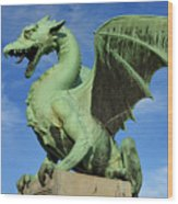 Roaring Winged Dragon Sculpture Of Green Sheet Copper Symbol Of  Wood Print