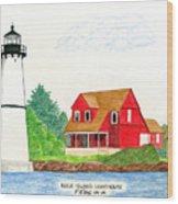 Rock Island Lighthouse Wood Print