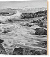 Rocky Asilomar Beach In Monterey Bay At Sunset. Wood Print