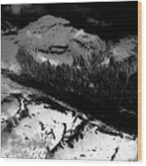 Rocky Mountains In Colorado With Snow Aerial Black And White Wood Print