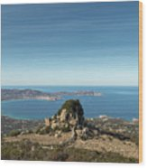 Rocky Outcrop Above Calvi Bay In Corsica Wood Print