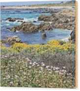 Rocky Surf With Wildflowers Wood Print