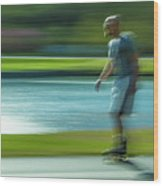 Rollerblading In Forest Park Wood Print