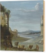 Roman Landscape With Ruins Wood Print