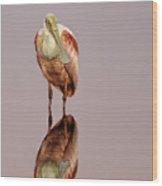 Roseate Spoonbill - Platalea Ajaja Wood Print