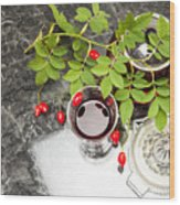 Rosehip Tea With Lemon In Glass Wood Print