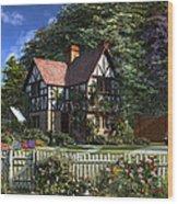 Roses House Wood Print
