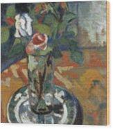 Roses In A Vase Wood Print