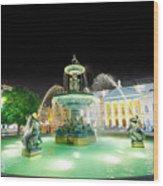 Rossio Square Lisbon Wood Print