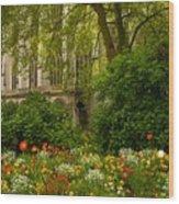 Rouen Abbey Garden Wood Print