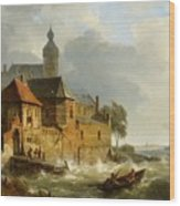 Rowing Boat In Stormy Seas Near A City Wood Print