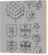 rubik's cube Patent 1983 Wood Print