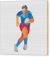 Rugby Player Running Low Polygon Wood Print